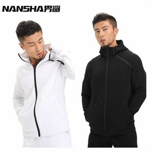 NANSHA  Mens Hoodies Fitness Long Sleeve Bodybulding Zipper Sweatshirts Gyms Muscle Fit Clothes Hooded Jackets