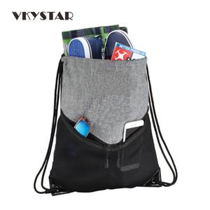 Unisex doble cremallera frontal bolsillos de malla con cordón de material poco voluminoso Sportspack Cinch Sack para mujeres y hombres con el encierro del cordón