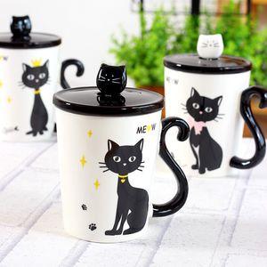 New Lovely Cat Tail Handle Mugs Tazza in ceramica Coffee Milk Drinkware con coperchio del cucchiaio Three in One Gift Mug