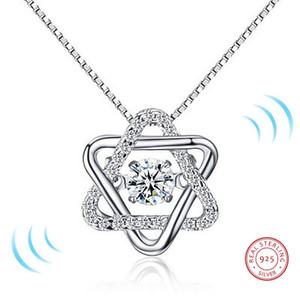 2018 S925 Silver Classic Rotates Dancing CZ Камень Серебро Гексаграмма Ожерелье для Женщин Девушка Мода Ювелирных Изделий Подарок для любви
