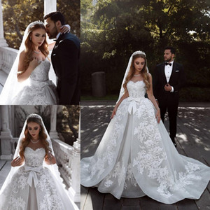 2019 Spring Summer Wedding Dresses Sweetheart Lace Appliques A Line Bridal Gowns With Ribbon Sash Cusotm Made Wedding Vestios Sweep Train