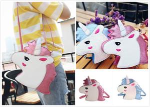 2018 Yeni 2 Renkler Unicorn çocuk Omuz Çantaları Kadın Çapraz Çanta Sevimli kızın Mini Çanta Kadın Cüzdan Kızlar Çanta Kişilik Gelgit