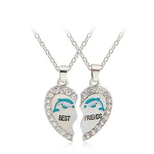 2 PCS Set Best Friends Friendship BFF Couple Pendant Two Parts Pendant Necklace Best Gifts For Men Women necklace Jewelry