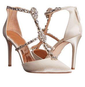 Parlak kadınlar elmas düğün ayakkabı zarif sivri hollow seksi yüksek topuklu Kristal ince ziyafet yüksek topuklu ayakkabılar tek leke kadınlar