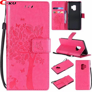Étui en cuir de portefeuille pour Samsung Galaxy S9 PLUS A8 2018 LG Q6 Q8 V30 ZTE Lame A110 HTC U11 Sangle de fixation Arbre à chat Butterfly ID Card Skin Cover