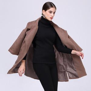 2018 Bahar Yeni Ürün Suit-elbise Katı Renk Takım Parçası Kol Uzunluğu Fon kadın Yün Gevşek Coat Yün Palto JR77