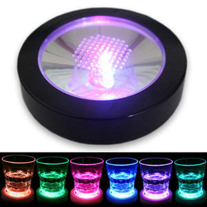 Color Changing Flashing LED Coaster Drink Bottle Cup Mat Holder for Party Club Bars Wedding Decoration Black Shell Colorful light