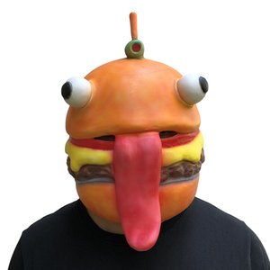 MostaShow Spiel Schlacht Royale Beef Boss Maske Cosplay Ostern Durr Burger Erwachsene Masken Latex Vollkopf Helm Halloween Party Requisiten