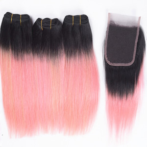 Dark Roots Lace Closure 4x4 con Ombre Pink Straight Hair teje 4 piezas / lote 1B Pink Ombre Color Hair 3 Bundles con cierre de cordones