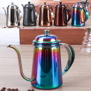 650ML Coffee Pot Stainless Steel Gooseneck Pour Over Coffee Maker Hanging Ear Drip Coffee Long Spout Pot Tea Kettle Tools HH7-414