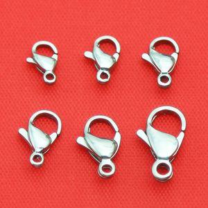 Commercio all'ingrosso 100 pz In Acciaio Inox 9mm / 10mm / 12mm / 13mm / 15mm Alta Lucido aragosta catenacci Ganci monili che trovano