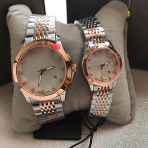 Venda quente Casais Estilo G-atemporal luxo homem mulheres relógios suíço original movimento de quartzo de vidro de safira espelho de aço inoxidável relógio de pulso