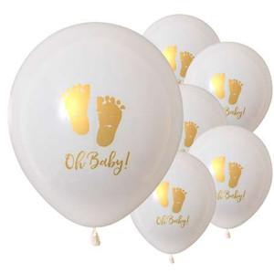 Kuchang 10 pezzi Oh Baby Stampato Palloncini in lattice Modello di piedi per bambino per la decorazione della festa di compleanno Forniture per bambini Babyshower Boy Girl
