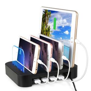 4 Multi Ports Caricatore da tavolo USB universale staccabile Supporto da tavolo Caricatore da tavolo per tablet per telefoni cellulari