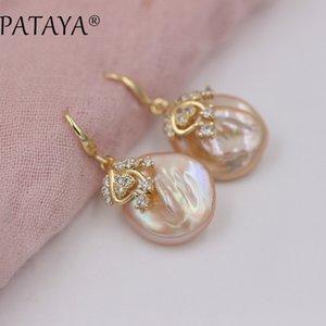 PATAYA New Arrivals Freshwater Irregular Pearls Earrings White Round Natural Zirconia Earrings Women Luxury Wedding Gold Jewelry C18111901