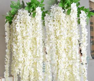 Nuevo diseño Wisteria Garland Hanging Flowers 5pcs para la decoración de la ceremonia de boda al aire libre Seda Wisteria Vine Wedding Arch Floral Decor