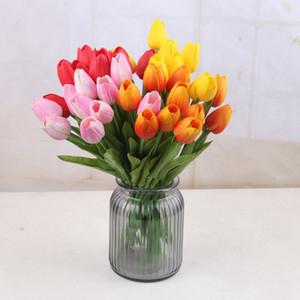 7 цветов Latex Tulip Artificial PU Цветы Букет Real Сенсорные тюльпаны Цветы для украшения дома свадебные декоративные цветы