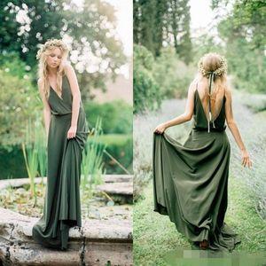 2019 Yaz Bohemian Zeytin Yeşil Şifon Ülke Gelinlik Modelleri Yeni Ucuz Seksi Spagetti Backless Uzun Hizmetçi Onur Abiye Custom Made