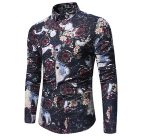 New Trend Flower Shirt Hombres 2018 Spring New Print Shirt Brand Clothes Flax Casual Business Hawaiian Long Sleeve Dress ShirtsHot Sale