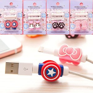 Multi Patterns Cartoon USB Cable Earphone Protector Headphones Line Saver For Mobile Phones Tablets Charging Cable Data Cord