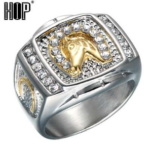 HIP Hop Micro Pave Rhinestone Iced Out Bling Horse Ring IP Gold Filled Titanium Stainless Steel Ring para hombres joyas
