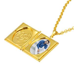 I nuovi prodotti più venduti, autentico oro 24K, totem islamico, foto quadrata, catena di maglione collana moda maschile / femminile A235 #
