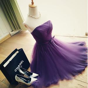 Gerçek Örnek Mor tül yeni Moda seksi kısa parti elbiseler 2018 custom made gelinlik modelleri basit lace up kokteyl elbis ...
