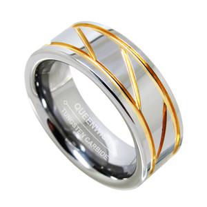 Обещание Кольцо для мужчин 8mm карбида вольфрама Кольцо Два Parallel Gold Groove Center Косого Open парашют моды ювелирных изделий