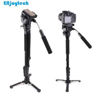 Professional Monopod Com hidráulica Pan-tilt Cabeça Gimbal Para Canon Nikon DSRL Câmeras Unipod Com Mini Tripod Fotografia Para