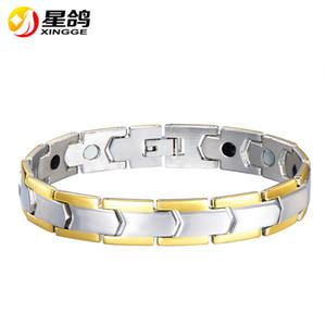316L bracciale in acciaio inossidabile di tono dell'argento potere salute germanio braccialetto magnetico dell'acciaio inossidabile di modo dell'uomo per gli uomini wristband all'ingrosso