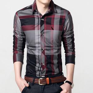 Camisa DUDALINA hombre de manga larga Slim Fit camisa de vestir casual de negocios shirt de la Reserva de algodón bordado