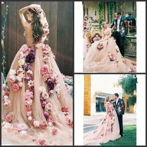 2020 Новый Champange Цветы A Line Свадебные платья одно плечо Милая дизайнер Свадебные платья Интернет с Часовня Поезд Vestios De NOVIA