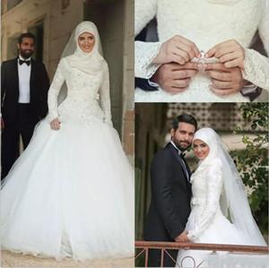 2019 muslimische Brautkleider sagte Mhamad Lace Winter Brautkleider lange Ärmel High Neck Arabic Islamic A-line Hochzeitskleid