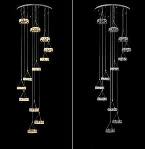 Cristal Longo Lustre Sala de estar Escada Duplex Lustre Villa Rotating Staircase Personalidade Escada Pendurado Luz