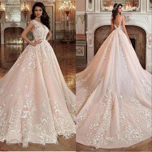 Magnifique Blush Rose Robes De Mariée Robes De Mariée Robe De Bal Pure Cou 3D Fleurs V Retour Appliqued Robe De Mariée En Dentelle