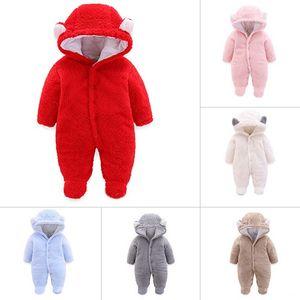 ملابس اطفال شتاء الفانيلا طفل رضيع الملابس الكرتون الحيوان 3D الدب الأذن رومبير بذلة دافئ وليد رومبير