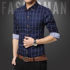 New spring and autumn men's long sleeved shirt lapel, pure cotton plaid lattices, men's shirt casual wear factory direct sale.