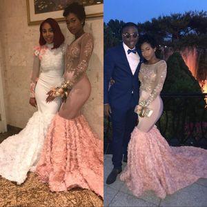 Modest Pink Pink African manga larga vestidos de baile 2K18 3D Floral apliques Sheer vestidos de noche 2K18