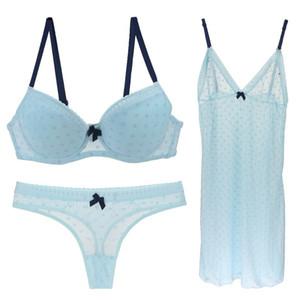 Mulheres Underwear Pijamas Sutiã Tanga Set 3 Peça Define Transparente Tulle Lace Sexy Lingerie Algodão Push Up Intimates Sutiã