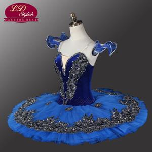 Tutu de balé de pássaro de veludo azul ballet cisne preto tutu profissional ballet tutu para competiton ou desempenho ld8983