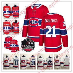 Montreal Canadiens NUEVA MARCA 100 ° Clásico # 8 Jordie Benn 20 Deslauriers 21 David Schlemko 22 Karl Alzner blanco rojo cosido Hockey Jersey