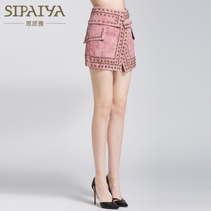 SIPAIYA 2018 in pelle Estate camoscio mini Gonna croce perline vita alta del pannello esterno spaccato bodycon gonne corte donne