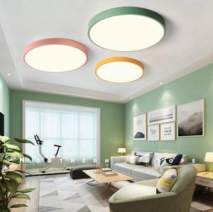 Lámpara de techo 5cm ultrafina luz Macaron color acrílico redonda de techo llevó el accesorio
