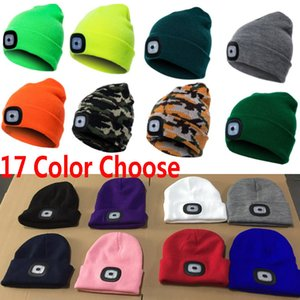 Led Light Knitted Beanies Cap Hats Women Men Winter Warm Crochet Party Hat Cap For Outdoor Fishing Camping Xmas Hats 17 Colors HH7-1831