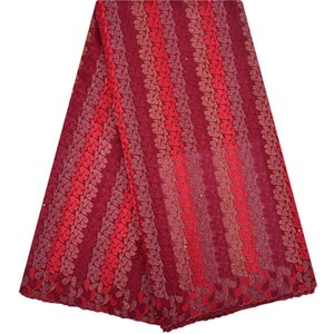 Cheap Bordado Swiss Voile Lace en Suiza Color rojo African Lace Fabric 2018 Alta calidad Nigerian Swiss Voile Lace 1253