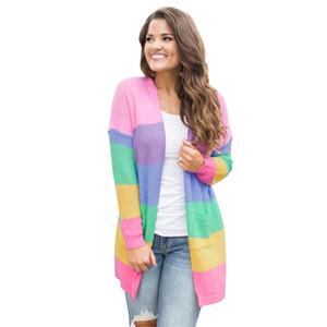 Womens Multicolor Striped Fashion lose lange Strickjacke Pullover Frau Langarm offene Stich Strickwaren gestrickte Oberbekleidung