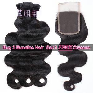 Ishow Hair Big Spring Стимулирование сбыта Купить 3 Связки Норка Бразильская Объемная Волна Необработанные Перуанские Человеческие Волосы Получить Бесплатное Закрытие Бесплатно