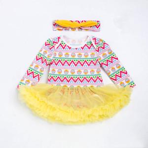 2018 Easter Day Baby Dress Cute Baby Girl Tutu Dresses + Diadema infantil Conjunto de encaje Tutu Conjuntos Menina Cotton Toddler Clothes 2Pcs