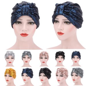 Nuevas Mujeres Lentejuelas Sombreros Turbante Musulmán Algodón Suave Brillo Elástico Estilo Indio Pañuelo Gorros Pañuelo Pañuelo Sombrero