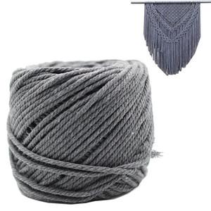 Macrame 코드 그레이 4mm X 100m 버진 코튼 손으로 만든 장식 Macrame 공장 걸이 Crocheting 보헤미아 드림 캐처 DIY 공예 편직